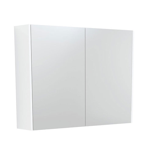 900 Mirror Cabinet with Gloss White Side Panels