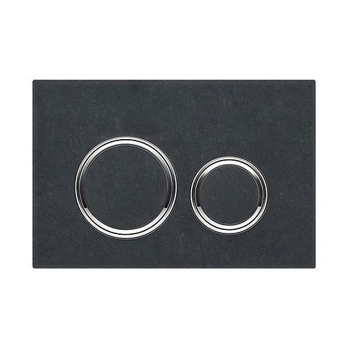 GEBERIT Sigma 21 Mustang Slate & Chrome Round Button Flush Plate