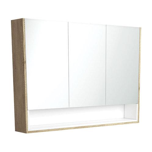 1200 Scandi Oak Undershelf Mirror Cabinet, Matte White Insert