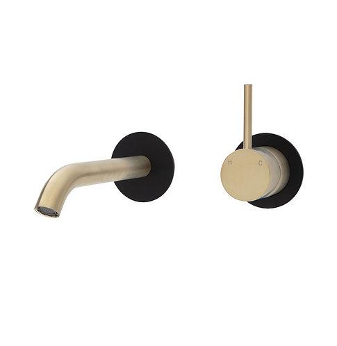 KAYA UP Wall Basin/Bath Mixer Set, Urban Brass, Matte Black Round Plates, 160mm