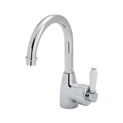 ELEANOR Gooseneck Basin Mixer, Chrome / Ceramic