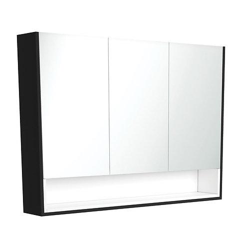 1200 Matte Black Undershelf Mirror Cabinet, Matte White Insert