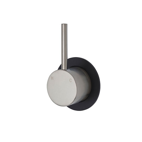 KAYA UP Wall Mixer, Brushed Nickel, Small Round Matte Black Plate