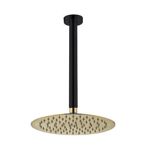 KAYA Ceiling Dropper Shower Set, Matte Black, Urban Brass Head