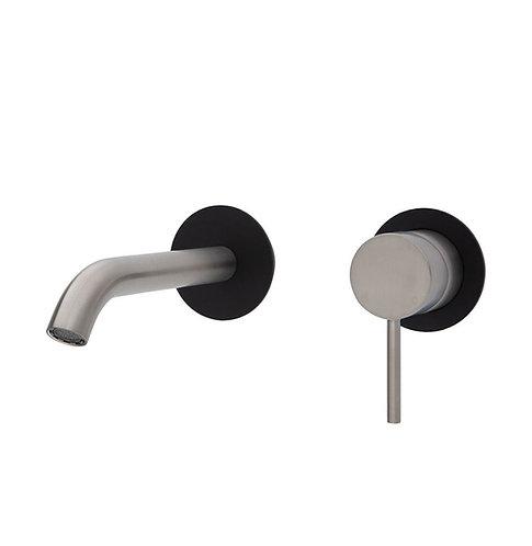KAYA Wall Basin/Bath Mixer Set, Brushed Nickel, Matte Black Round Plates, 160mm