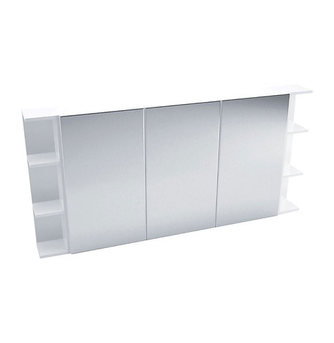 1200 Mirror Cabinet, Pencil Edge + 2 Side Shelves