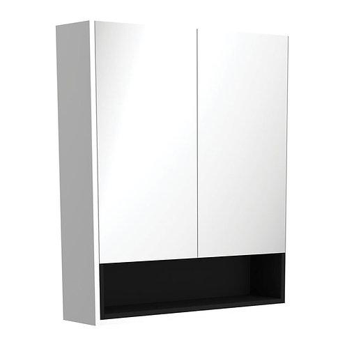 750 Matte White Undershelf Mirror Cabinet, Matte Black Insert