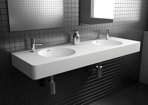 ENCANTO 1400 Solid Surface Wall-Hung Basin, Double Bowl