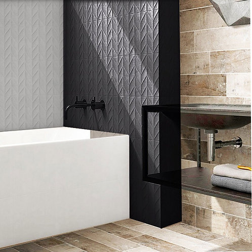 Embossed Feature Walls Snow Black Chevron