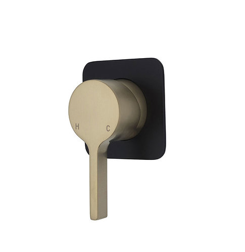 SANSA Wall Mixer, Urban Brass, Soft Square Matte Black Plate