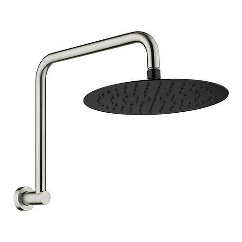 KAYA Gooseneck Shower Arm Set, Brushed Nickel, Matte Black Head