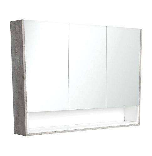 1200 Industrial Undershelf Mirror Cabinet, Matte White Insert