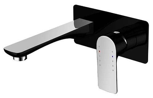 Sleek Wall Mixer With Outlet - Matt Black & Chrome(Luxury)
