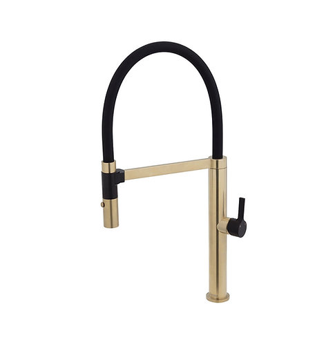 SANSA Pull Down Sink Mixer, Urban Brass with Matte Black Handle