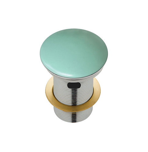 Ceramic Cap Pop-Up Waste, 32mm with Overflow, Matte Green