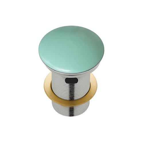 Ceramic Cap Pop-Up Waste, 32mm with Overflow, Matte Green