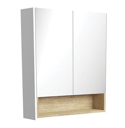 750 Matte White Undershelf Mirror Cabinet, Scandi Oak Insert