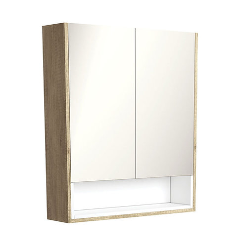 750 Scandi Oak Undershelf Mirror Cabinet, Matte White Insert