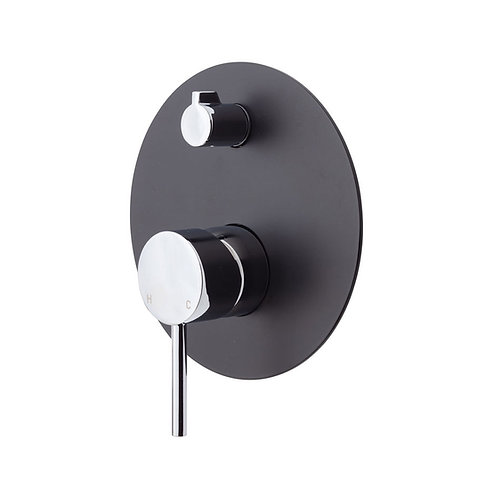 KAYA Wall Diverter Mixer, Large Round Matte Black Plate
