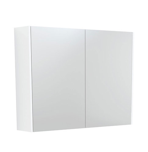 900 Mirror Cabinet with Matte White Side Panels