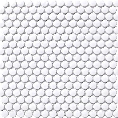 Mosaics White Gloss Penny Round