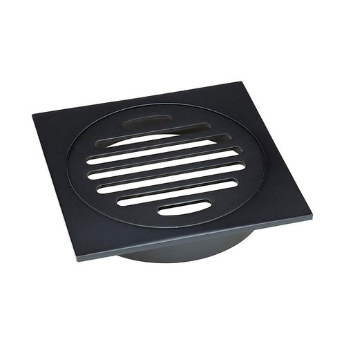 Floor Waste Round Grate, Matte Black, 100mm Outlet
