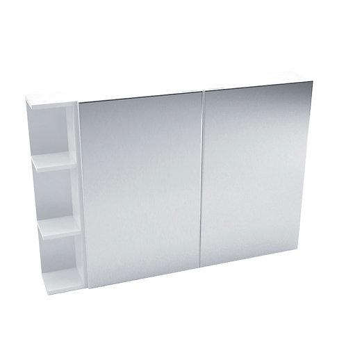900 Mirror Cabinet, Pencil Edge + 1 Side Shelves