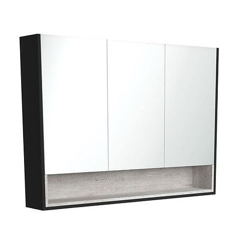 1200 Matte Black Undershelf Mirror Cabinet, Industrial Insert