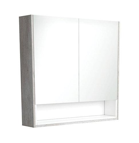 900 Industrial Undershelf Mirror Cabinet, Matte White Insert