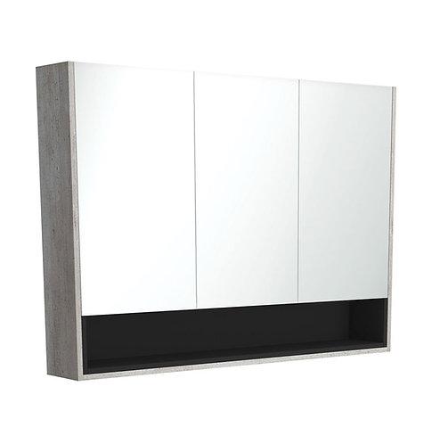 1200 Industrial Undershelf Mirror Cabinet, Matte Black Insert