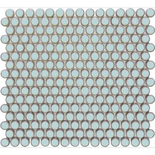 Mosaics Soft Blue Gloss Penny Round