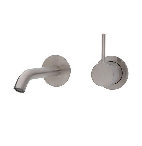 KAYA UP Wall Basin/Bath Mixer Set, Brushed Nickel, Round Plates, 200mm Outlet