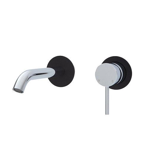 KAYA Wall Basin/Bath Mixer Set, Matte Black Round Plates, 160mm Outlet