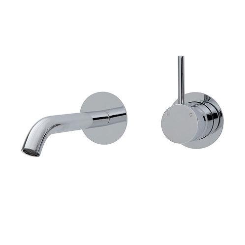 KAYA UP Wall Basin/Bath Mixer Set, Round Plates, 200mm Outlet