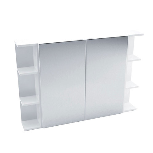 750 Mirror Cabinet, Pencil Edge + 2 Side Shelves