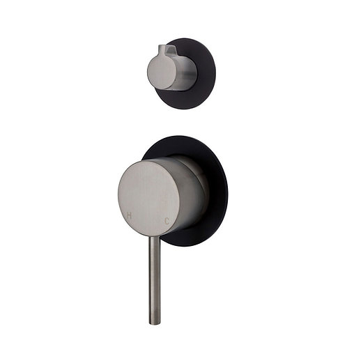 KAYA Wall Diverter Mixer, Brushed Nickel, Small Round Matte Black Plates