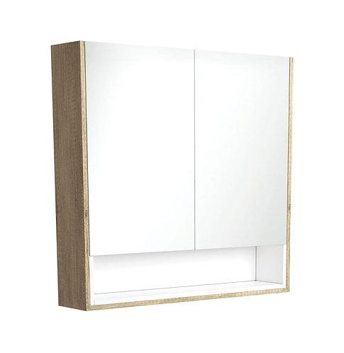 900 Scandi Oak Undershelf Mirror Cabinet, Matte White Insert