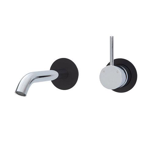 KAYA UP Wall Basin/Bath Mixer Set, Matte Black Round Plates, 200mm Outlet