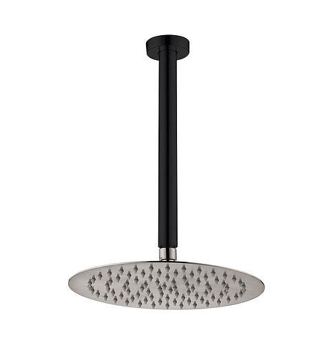 KAYA Ceiling Dropper Shower Set, Matte Black, Brushed Nickel Head