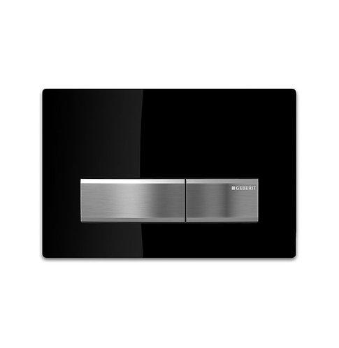 GEBERIT Sigma 50 Black & Chrome Rectangular Button Flush Plate