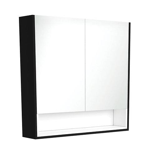 900 Matte Black Undershelf Mirror Cabinet, Matte White Insert