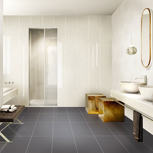 Embossed Feature Walls Serbia Stem White