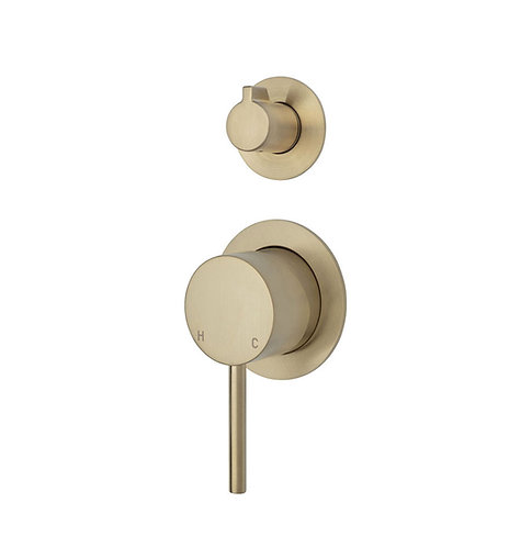 KAYA Wall Diverter Mixer, Urban Brass, Small Round Plates
