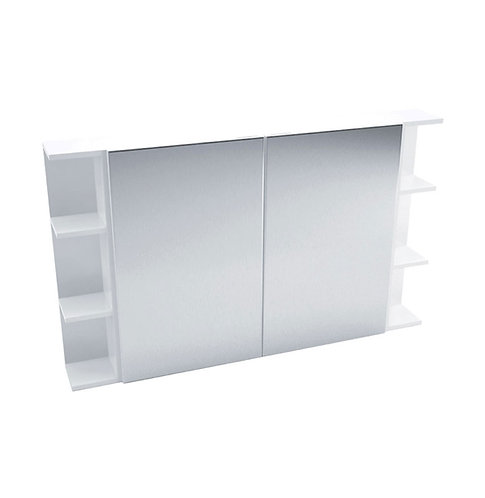 900 Mirror Cabinet, Pencil Edge + 2 Side Shelves