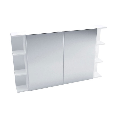 900 Mirror Cabinet, Pencil Edge + 2 Side Shelves