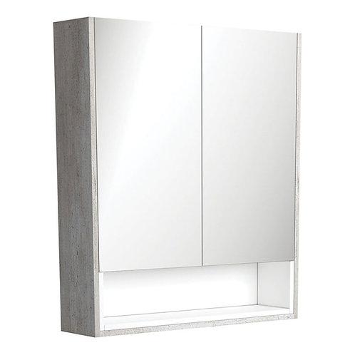 750 Industrial Undershelf Mirror Cabinet, Matte White Insert