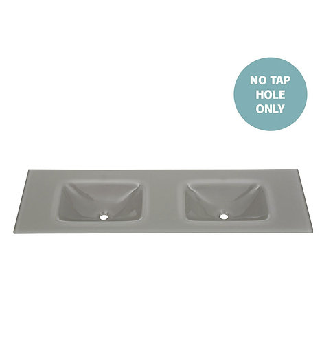 MAMBO Slate 1500 Tempered Glass Double Basin-Top (No Tap Hole)