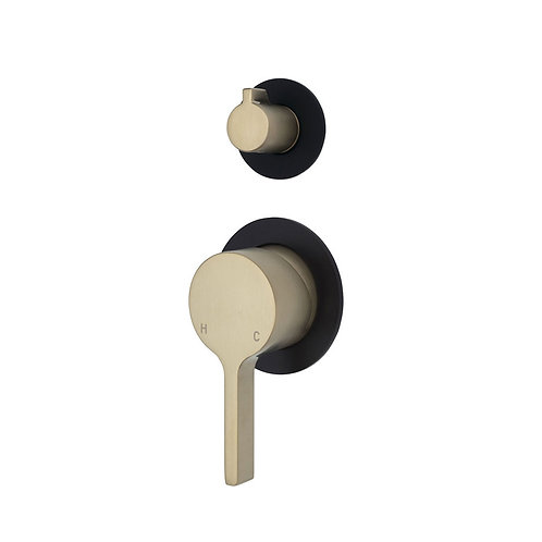 SANSA Wall Diverter Mixer, Urban Brass, Small Round Matte Black Plates