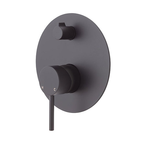 KAYA Wall Diverter Mixer, Matte Black, Large Round Plate