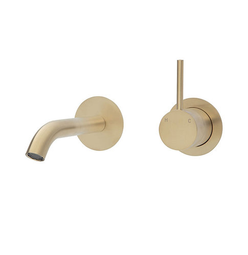 KAYA UP Wall Basin/Bath Mixer Set, Urban Brass, Round Plates, 160mm Outlet